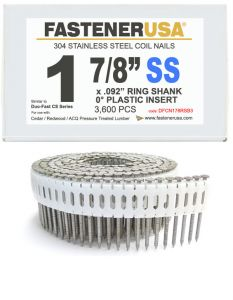 """1-7/8"""" x .086 RING 304 STAINLESS COIL NAILS 0 DEGREE PLASTIC 3.6M Box"""