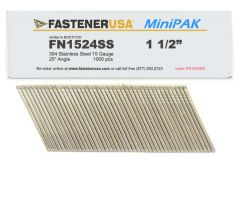 """1-1/2"""" FN1524SS ANGLE FINISH NAILS 15 GAUGE 304 STAINLESS 1M MiniPak"""