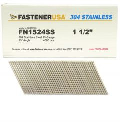 """1-1/2"""" FN1524SS ANGLE FINISH NAILS 15 GAUGE 304 STAINLESS 4M Box"""