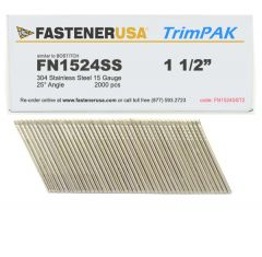 """1-1/2"""" FN1524SS ANGLE FINISH NAILS 15 GAUGE 304 STAINLESS 2M TrimPak"""