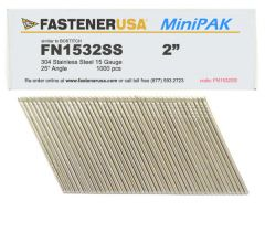 """2"""" FN1532SS ANGLE FINISH NAILS 15 GAUGE 304 STAINLESS 1M MiniPak"""
