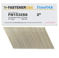 """2"""" FN1532SS ANGLE FINISH NAILS 15 GAUGE 304 STAINLESS 2M TrimPak"""