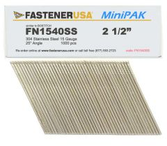 """2-1/2"""" FN1540SS ANGLE FINISH NAILS 15 GAUGE 304 STAINLESS 1M MiniPak"""