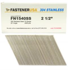 """2-1/2"""" FN1540SS ANGLE FINISH NAILS 15 GAUGE 304 STAINLESS 4M Box"""