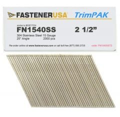 """2-1/2"""" FN1540SS ANGLE FINISH NAILS 15 GAUGE 304 STAINLESS 2M TrimPak"""