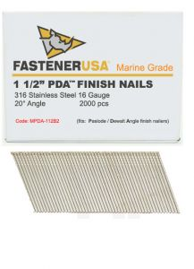 """1-1/2"""" ANGLE FINISH NAILS 16 GAUGE 316 STAINLESS STEEL 2M Box"""