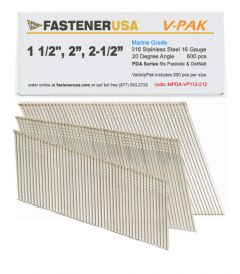 """1-1/2"""" to 2-1/2"""" ANGLE FINISH NAILS 16 GAUGE 316 STAINLESS STEEL 600ct VarietyPak"""