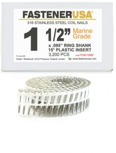 """1-1/2"""" x .092 RING 316 STAINLESS COIL NAILS 15 DEGREE PLASTIC 3.2M Box"""