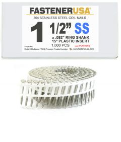"""1-1/2"""" x .092 RING 304 STAINLESS COIL NAILS 15 DEGREE PLASTIC 1M Box"""