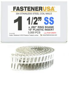"""1-1/2"""" x .092 RING 304 STAINLESS COIL NAILS 15 DEGREE PLASTIC 3M ProPak"""