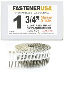 """1-3/4"""" x .092 RING 316 STAINLESS COIL NAILS 15 DEGREE PLASTIC 3.2M Box"""