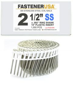 """2-1/2"""" x .092 RING 304 STAINLESS COIL NAILS 15 DEGREE PLASTIC 1M Box"""