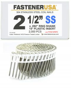 """2-1/2"""" x .092 RING 304 STAINLESS COIL NAILS 15 DEGREE PLASTIC 2M ProPak"""