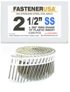 """2-1/2"""" x .092 RING 304 STAINLESS COIL NAILS 15 DEGREE PLASTIC 3M ProPak"""