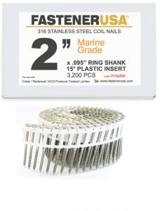 """2"""" x .092 RING 316 STAINLESS COIL NAILS 15 DEGREE PLASTIC 3.2M Box"""
