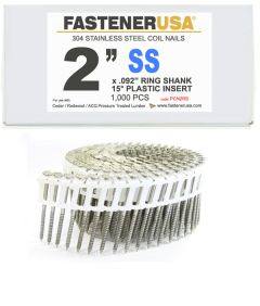 """2"""" x .092 RING 304 STAINLESS COIL NAILS 15 DEGREE PLASTIC 1M Box"""