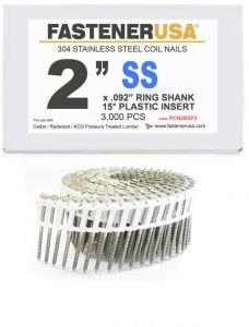"""2"""" x .092 RING 304 STAINLESS COIL NAILS 15 DEGREE PLASTIC 3M ProPak"""