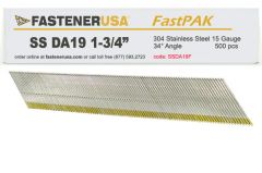 """1-3/4"""" DA19 ANGLE FINISH NAILS 15 GAUGE 304 STAINLESS STEEL 500ct FastPak"""