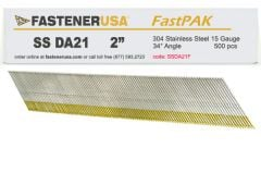 """2"""" DA21 ANGLE FINISH NAILS 15 GAUGE 304 STAINLESS STEEL 500ct FastPak"""