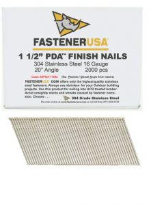 """1-1/2"""" ANGLE FINISH NAILS 16 GAUGE 304 STAINLESS STEEL 2M Box"""