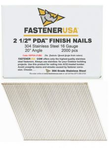 """2-1/2"""" ANGLE FINISH NAILS 16 GAUGE 304 STAINLESS STEEL 2M Box"""