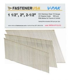 """1-1/2 to 2-1/2"""" ANGLE FINISH NAILS 16 GAUGE 304 STAINLESS STEEL 900ct VarietyPak"""